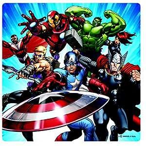 Avengers Tableau Sur Verre Acrylique - Captain America, Iron Man Et Hulk, Attaque Des Super-Héros (19 x 19 cm)