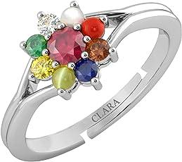 Clara 92.5 Sterling Silver Natural Certified Navaratna Stone Original Nine gems Adjustable Ring for Women and Girls
