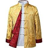 BOZEVON Mens Womens Chinese Tang Suit Tops - Spring Autumn Both Sides Coat Jacket Long Sleeve Martial Arts Kung Fu Shirts Chi