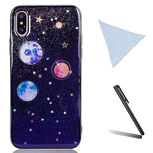 iPhone X Hülle, iPhone 10 Weich Hülle, YFZYT Schein Galaxie Stern Himmel Muster Ultra Hybrider Stoßsicherer TPU Stoßfall Gel Silikon Kasten für Apple iPhone X/10, Lila (Gratis-einfachheit-muster)