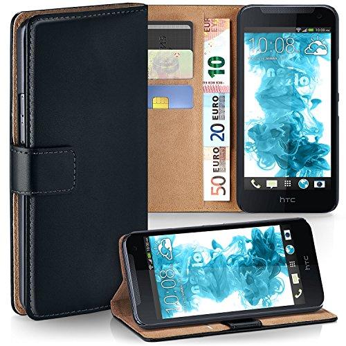 moex HTC Desire 310 | Hülle Schwarz mit Karten-Fach 360° Book Klapp-Hülle Handytasche Kunst-Leder Handyhülle für HTC Desire 310 Case Flip Cover Schutzhülle Tasche
