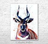 Bongo Antelope watercolor painting print by Slaveika Aladjova