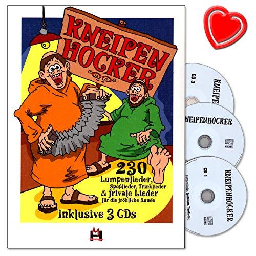 Produktbild Kneipenhocker - Liederbuch mit 3 CD - Über 230 Lumpenlieder, Spaßlieder, Trinklieder, frivole Lieder - mit bunter herzförmiger Notenklammer