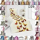 Set di biancheria da letto, moderna microfibra di alta qualità, copripiumini 135 x 200 cm, federe per cuscino, 4 pezzi, Design 29, 135 x 200 cm