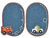 Unbekannt 2 tlg. Set ovaler - Bügelbild / Flicken - Auto Fahrzeuge - Jeans blau - 8 cm * 11,5 cm - oval - Bügelbilder - Aufnäher zum Aufnähen und Bügeln / Applikation f..