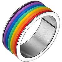 Fenteer 9mm Arcobaleno Silicone in Acciaio Inox Lesbica Gay Pride Anello Unisex 9