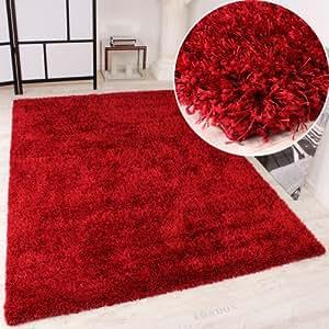 Shaggy Teppich Hochflor Langflor leicht Meliert Qualitativ u. Preiswert Uni Rot, Grösse:80x150 cm