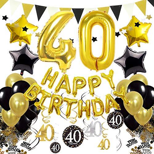d 40. Geburtstag Dekoration, Happy Birthday 40. Nummer und Sternförmige Folienballons, Hängende Strudel Dreieckige Wimpel Stern Ornamente Geburtstag Konfetti Party Zubehör Set ()