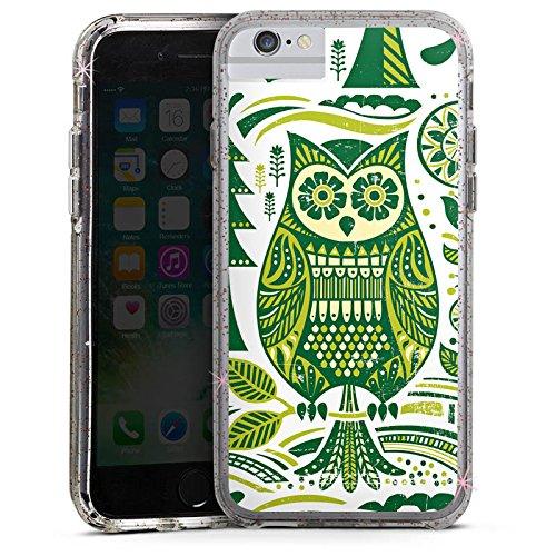 Apple iPhone 6 Plus Bumper Hülle Bumper Case Glitzer Hülle Eule Owl Uhu Bumper Case Glitzer rose gold