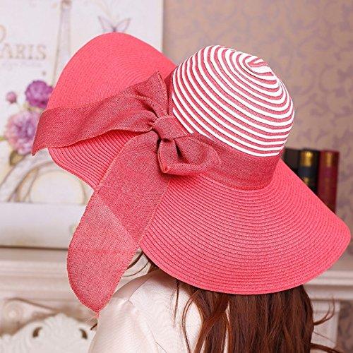 zmzxsombrero-stetson-playa-sombrero-de-paja-de-verano-femenina-sunscreen-rayas-grass-hat-pajarita-vi
