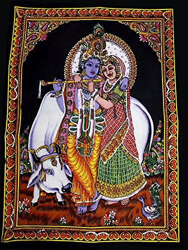 Rastogi handicrafts - arazzo in cotone di divinità indiana, dimensioni del manifesto 101 x 76 cm, rk cow-g, 56 x 34 inches