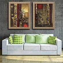 NIHE pintura decorativa de la sala de estar de la pared pintura abstracta marco de madera clásica Maestro puro lino pintado a mano (2pcs) , 60x90