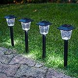 Conjunto de 4 lámparas blancas LED solares de estaca tipo farola de Lights4fun