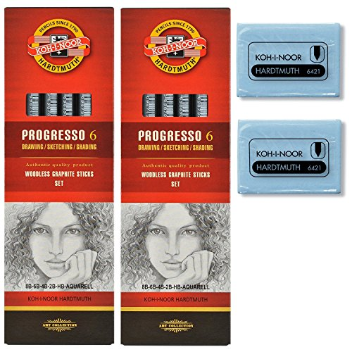 koh-i-noor-progresso-gros-crayon-a-mine-de-graphite-sans-bois-lot-de-2-pieces-lot-de-6-2-gommes-en-c