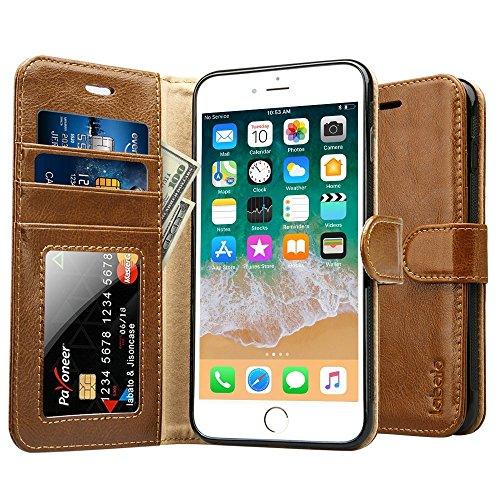 Labato Portemonnaie-Stil Hülle Handytasche Schutzhülle Ledertasche Flip Cover Leder Case Tasche Schale Lederhülle für das iPhone 7 Plus/iPhone 8 Plus, Braun Lbt-I8L-06Z20