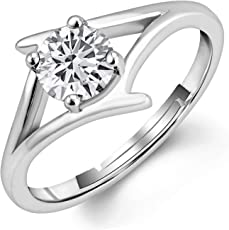 Om Jewells Adjustable Rhodium Plated Solitaire Finger Ring Made with CZ Stone for Girls and Women FR1000927