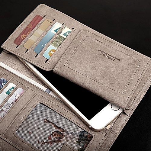 ZXDOP Brieftasche Männer Leder Brieftasche Retro Herren Lange Reißverschluss Herren Leder Brieftasche ( farbe : Braun ) Gray