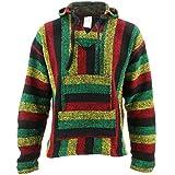 Search : Mexican Baja Jerga rasta striped hooded hippie top (M)
