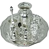 Nutristar German Silver Pooja Thali Set, Puja Plate Set, Diameter 15 Inches, Set of 11 Items, Colour-Silvery White.