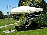 Maffei Art 226 viereckiger Ampelschirm cm 300x300, Stoff wasserdichter Polyester, groesser Stock, verstellbar, drehbar mit Pedal. Made in China. Farbe ecru