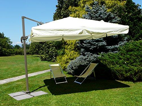 Maffei Art 226 parasol deporté carré cm 300x300, tissu polyester, monture aluminium mat géant. Made in China. Couleur ecru