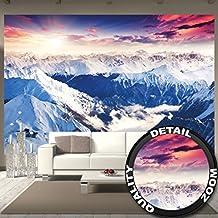 Foto mural Alpes Panorama Mural Decoración Invierno Puesta de sol Nieve Paisaje Naturaleza Montañas Glacier I foto-mural foto póster deco pared by GREAT ART (336 x 238 cm)