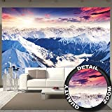 great-art Fototapete Alpen Panorama Wandbild Dekoration Winter Sonnenuntergang Schnee Landschaft Natur Berge Gletscher Gebirge Gipfel | Foto-Tapete Wandtapete Fotoposter Wanddeko by (336 x 238 cm)