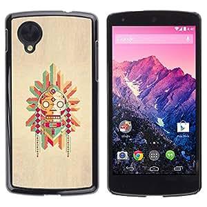 LASTONE PHONE CASE / Hart Hülle Tasche Schutzhülle Cover Shell Für LG Google Nexus 5 D820 D821 / Pole Native American Drawing