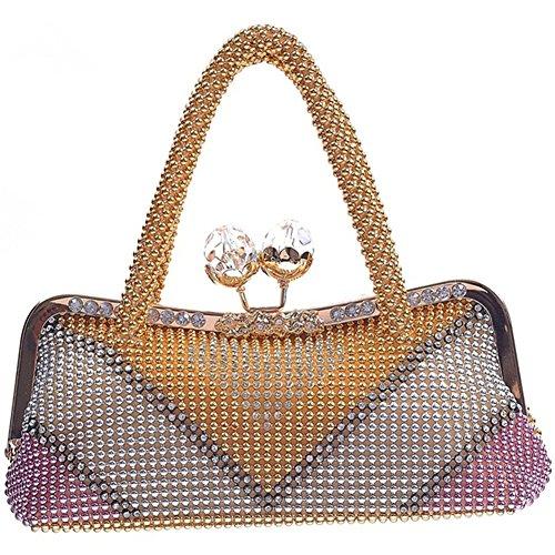 ERGEOB® Donna Clutch sacchetto di sera borsetta Clutch per Party Festa matrimonio teatro cinema catena taschino oro