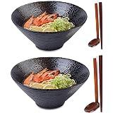 2 Ensembles (6 pièces) Bol à Soupe Ramen Japonais en Porcelaine, Grandes Saladier 1600 ML / 57 oz avec Cuillère et Baguettes,