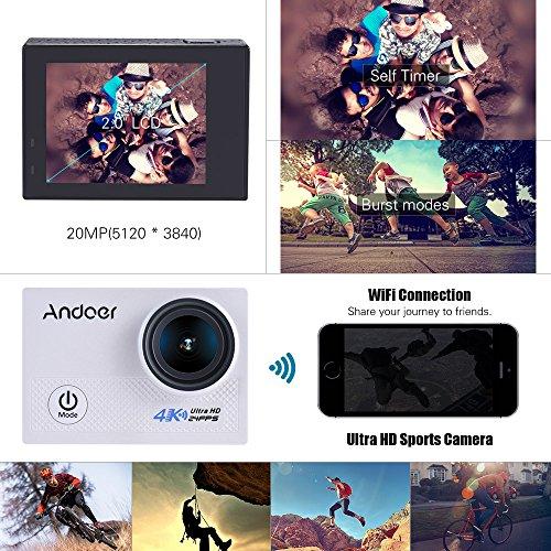 "Andoer AN5000 4K 24fps WIFI Sports Action Camera 20MP 1080P 60fps giroscopio Anti-shake supporto 5X Zoom 2 schermo LCD"" 30m impermeabile"