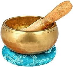 """AIYIOUWEI Tibetische Gesangs Schale Set-Chakras Heilung & Meditation Yoga Sound Bowl mit Mallet, Seidenkissen, Seidenbeutel, 4""""Tibetische Buddhistische Schüssel Made in Nepal"""