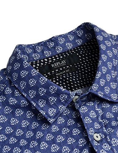 Replay Men's Men's Blue Linen Shirt blue