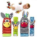 4 x Cute Animal Infant Baby Plüschtiere - Unisex-Armbanduhr und Socken für 0-12 Monate Baby (2pieces Handgelenk + 2pieces Socken)