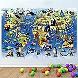 LagunaProject Mapa Mundial de Especies en Peligro Niños Guardería pegatina infantil dormitorio pared de vinilo pegatinas cartel -120cm x 80cm