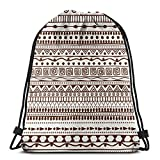 Patrón Tribal sin Costuras en el Estilo de una Mochila Boho_15 Mochila con cordón Sport Gym Sackpack 14.2 x 16.9 Inch