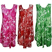 Boho Chic Designs Womens Resort Dress Kaftan Button Front Rayon Tank Caftan Sundress Lot Of 3 One Size
