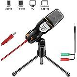 AOBETAK Microfono per PC e Smartphone con Supporto, Professionale 3.5mm Jack Microfono a Condensatore con 3.5 mm Stereo Jack