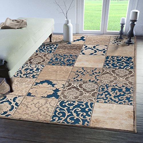 Hochwertiger Teppich Für Ihre Zuhause - Blau Braun Creme - 160 x 230 cm - Orientalisches Patchwork Muster - Blumen Ornamente - Pflegeleicht Robust - Dichtflor Kurzflor - Kollektion von CARPETO -