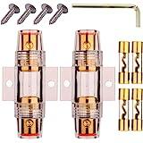 Gebildet 2 pièces AGU In-Line Porte-fusible Etanche 4/8 Gauge AWG pour Voiture Auto Vidéo Audio, avec 4 pièces 10×38 mm Fusib