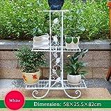 WYDM 3 strati di fiori cornice in ferro battuto struttura in metallo scolpito vaso pianta cremagliera soggiorno balcone decorazione del giardino cornice 58x25x82cm (3 colori)