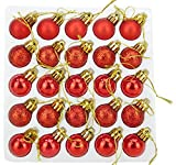 Christmas Concepts® Pack of 25 - 25mm Mini Christmas Tree Baubles - Shiny, Matte & Glitter Decorated Baubles (Red)