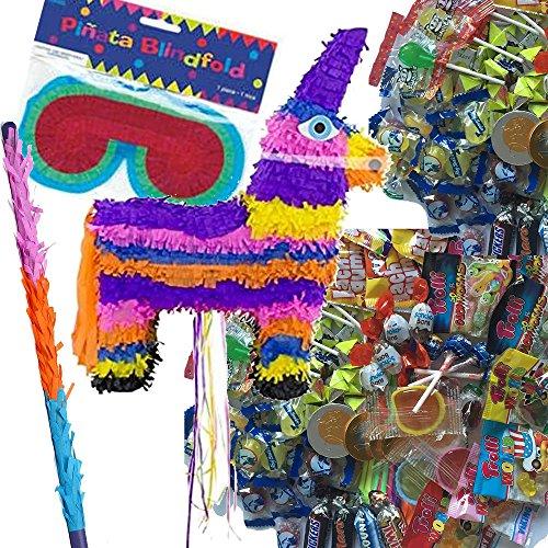 Pinata-Set-BUNTER-ESEL-mit-Maske-Schlger-100-teiliger-Sigkeiten-Fllung-No1-von-Carpeta-Handgefertigte-spanische-Pinata-Tolles-Spiel-fr-Kindergeburtstag-oder-Mottoparty