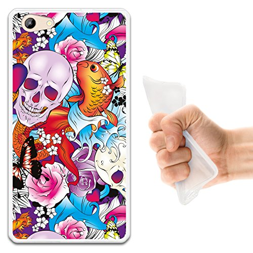 WoowCase Doogee Y300 Hülle, Handyhülle Silikon für [ Doogee Y300 ] Schädel Blumen & Schmetterlinge Handytasche Handy Cover Case Schutzhülle Flexible TPU - Transparent