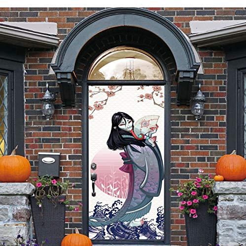 Shengbuzailai Japanische Lange Zunge Teufel tür Aufkleber DIY Hause Halloween Dekorationen Aufkleber Selbstklebende PVC tür wandbild Holz tür erneuern wandbild 77 * 200 cm