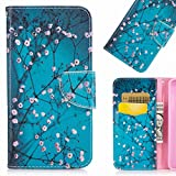 LEMORRY Samsung Galaxy S8+ / S8 Plus Funda Estuches Cuero Flip Billetera Bolsa Piel Slim Bumper Protector Magnética Cierre TPU Silicona Carcasa Tapa para Galaxy S8 Plus, Flor de Cerezo
