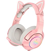 ONIKUMA Pink Gaming Headset with Removable Cat Ears, for PS5, PS4, Xbox One (Adapter Not Included), Nintendo Switch, PC…