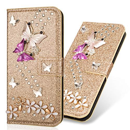 Preisvergleich Produktbild Bookstyle Bling Loves für Huawei P30 Pro, Glitter Glitzer Diamond Musterg Slim Retro Klassisch Modisch Ledertasche Stand Funktion Kartenfach Magnetverschluss Flip Wallet Hülle Schutzhülle