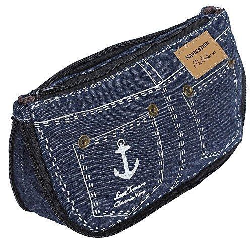 Simpatico astuccio denim pantaloncini di jeans style trousse portamonete portafogli