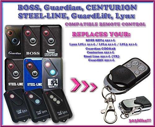 BOSS/Guardian/Steel Line/guardlift/Centurion/Lynx & Modernes kompatibel Fernbedienung, Ersatz-Handsender für Garagentor öffner. Top Qualität Schlüsselanhänger, 303MHz. (Boss Remote)